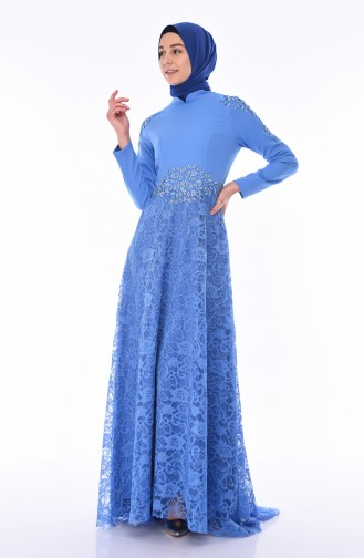Indigo Hijab-Abendkleider 8013-05