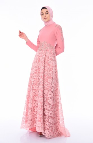 Powder Islamic Clothing Evening Dress 8013-06