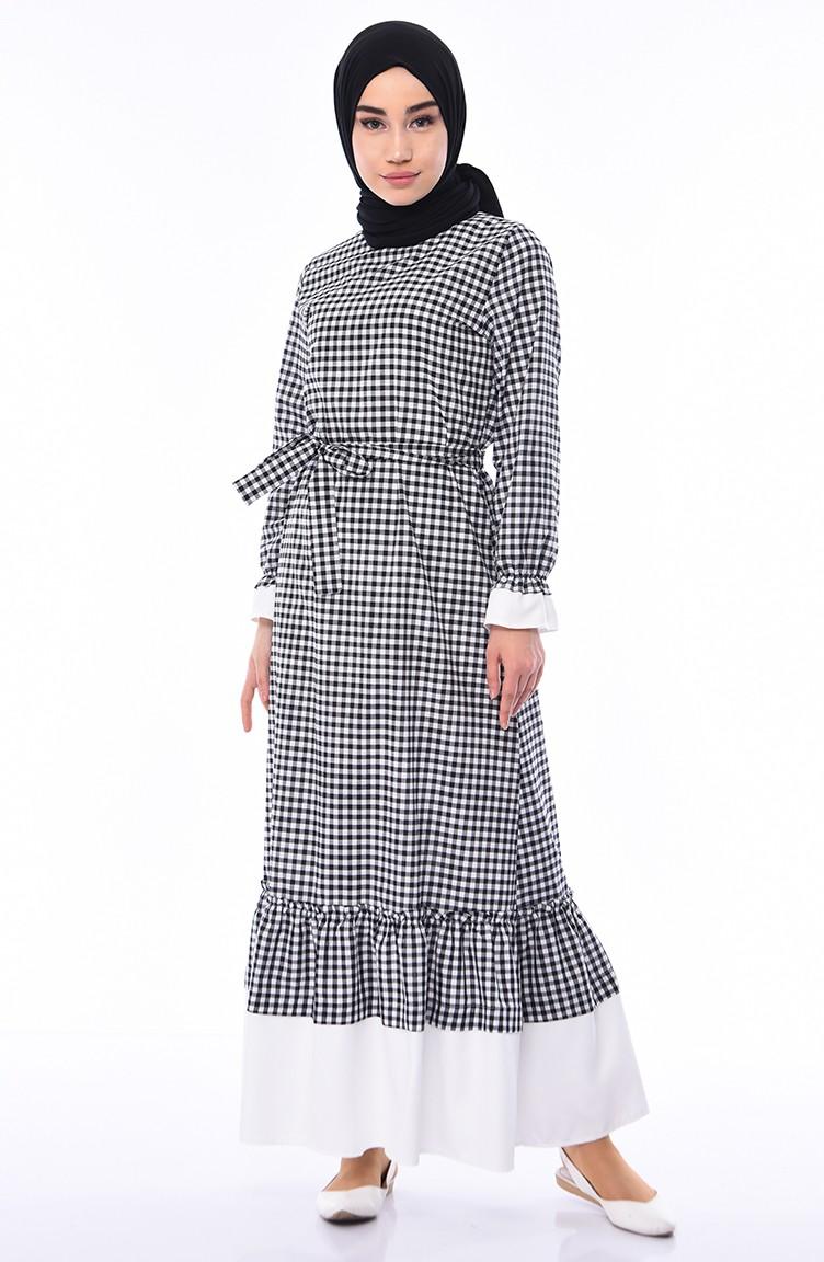 f056fa935e49f Potikare Desenli Elbise 4279-01 Siyah