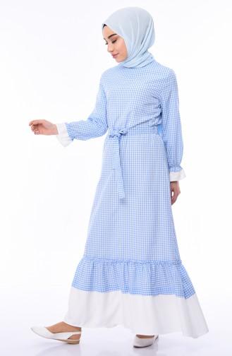 Robe Hijab Bleu Bébé 4279-02