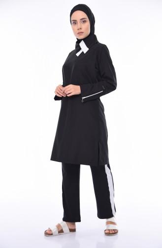 Schwarz Hijab Badeanzug 365-03
