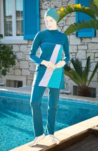 Oil Blue Swimsuit Hijab 1912-02