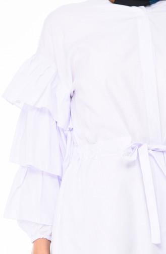 Fırfırlı Tunik 5015-04 Beyaz