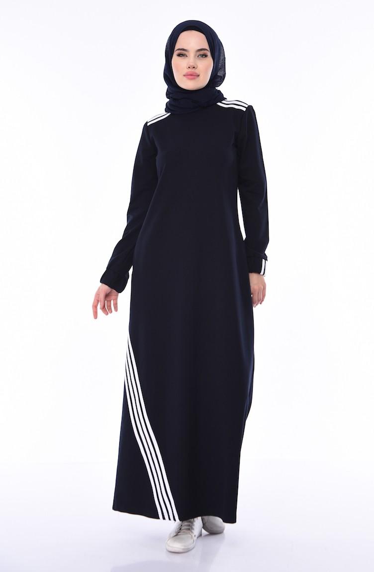 637af2ade0f4d Çizgili Spor Elbise 9066-01 Lacivert
