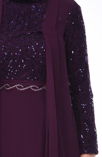 Purple Islamic Clothing Evening Dress 52758-06