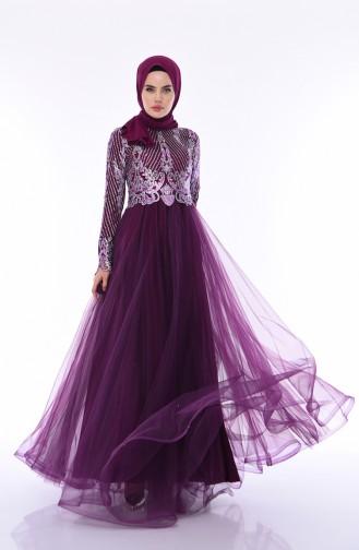 Silbernes Abendkleid 4565-01 Lila 4565-01