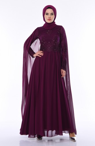 Damson Islamic Clothing Evening Dress 4491-03
