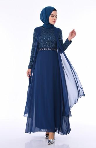 فساتين سهرة بتصميم اسلامي أزرق زيتي 52758-05