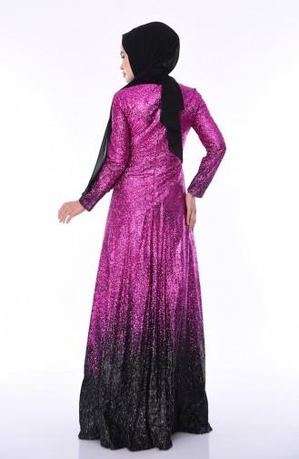 Abendkleid 4557-01 Fuchsia Schwarz 4557-01