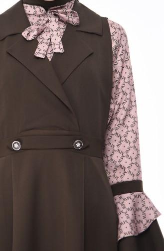 Ensemble Deux Pieces Blouse Robe Sans Manches 9338-02 Khaki 9338-02