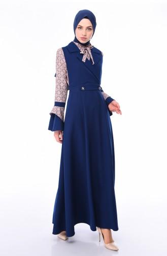 Ensemble Deux Pieces Blouse Robe Sans Manches 9338-03 Bleu Marine 9338-03