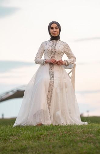 Ecru Islamic Clothing Evening Dress 1018-04