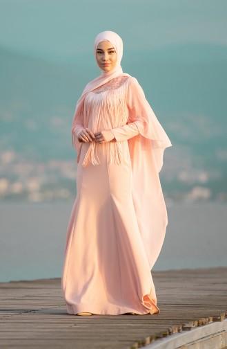 Saçaklı Abiye Elbise 4529-02 Somon