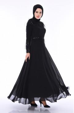 0874c3f77ac57 Sefamerve, Tüy Detaylı Abiye Elbise 4553-03 Siyah