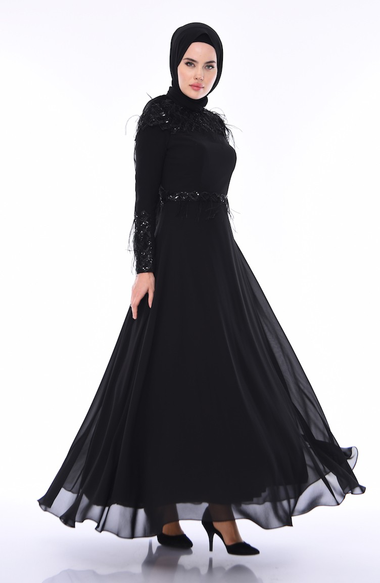 0294120b45139 Habillé Hijab Noir 4553-03