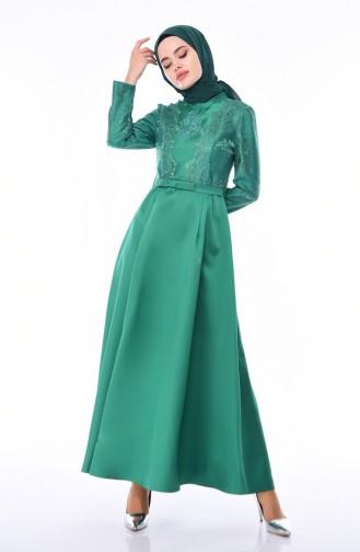 Dantelli Abiye Elbise 8722-04 Zümrüt Yeşili