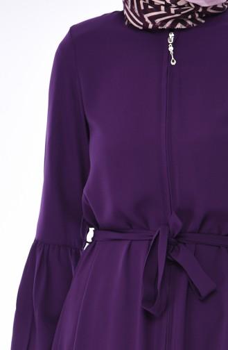 Fermurlı Kuşaklı Tunik 5011-06 Mor