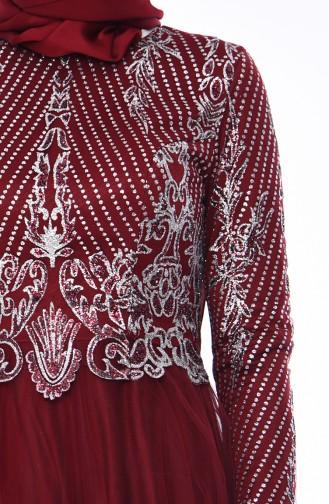 Simli Abiye Elbise 4565-04 Bordo