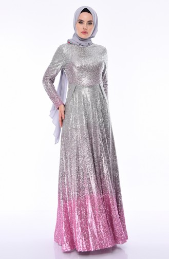 Robe de Soirée a Paillettes 4557-02 Rose Pâle Pierre 4557-02