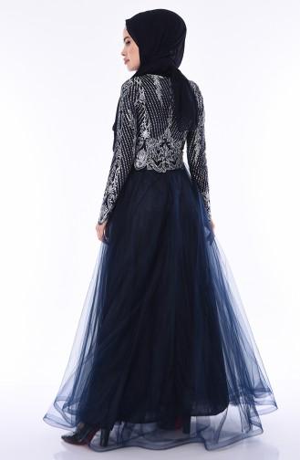 Dunkelblau Hijab-Abendkleider 4565-03