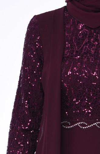 Robe de Soirée Détail Paillettes 52758-01 Plum 52758-01