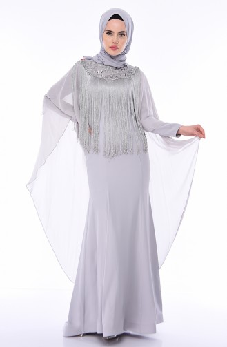 Gray Islamic Clothing Evening Dress 4529-04