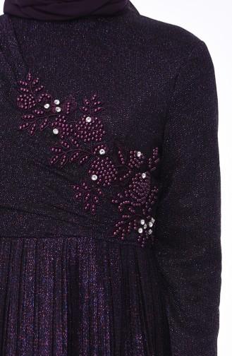 Robe de Soirée Brodée de Perles 8012-02 Pourpre 8012-02