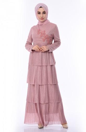 Powder Islamic Clothing Evening Dress 8012-04