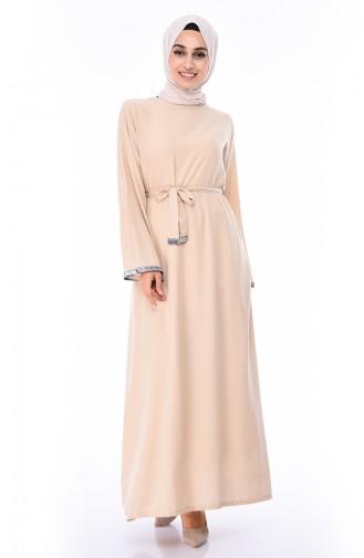 Kol Detaylı Kuşaklı Elbise 0314-04 Taş