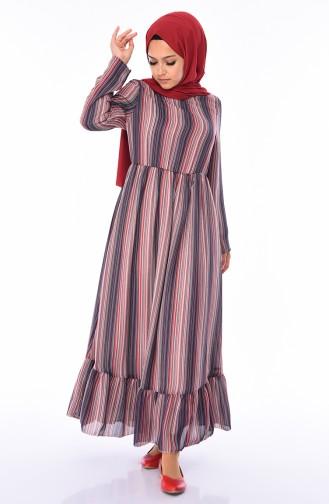 Büzgülü Yazlık Elbise 0058-02 Lacivert