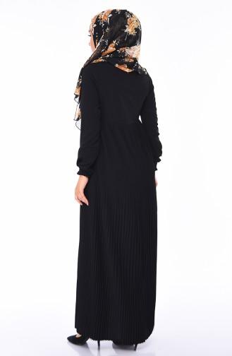 Pliseli Yazlık Elbise 0059-02 Siyah