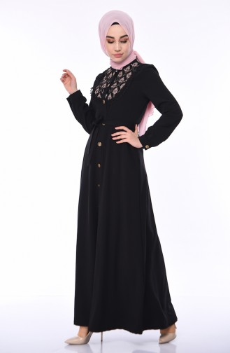 Nakışlı Kuşaklı Ferace 9106-01 Siyah