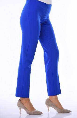 Side Zipper Lycra Trousers 9042-16 Saxe Blue 9042-16