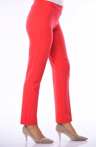 Side Zipper Lycra Trousers 9042-17 Red 9042-17