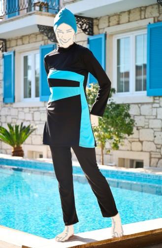 Schwarz Hijab Badeanzug 1913-03