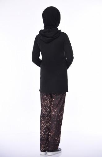 Leopard Patterned Track Suit Set 9354-01 Black 9354-01