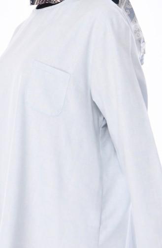 Pamuklu Düğme Detaylı Tunik 3082-08 Açık Mavi