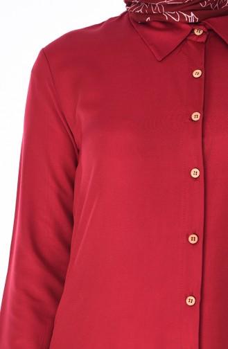 Düğmeli Yazlık Tunik 3023-01 Bordo