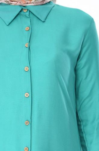 Düğmeli Yazlık Tunik 3023-03 Yeşil 3023-03