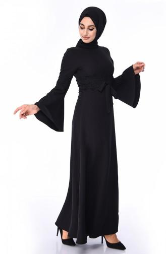 Güpürlü Elbise 81720-01 Siyah