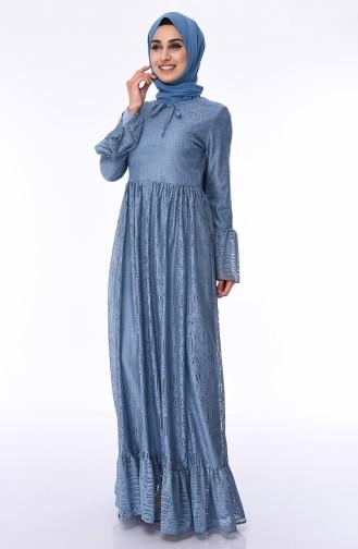 Dantel Kaplama Elbise 81722-04 İndigo