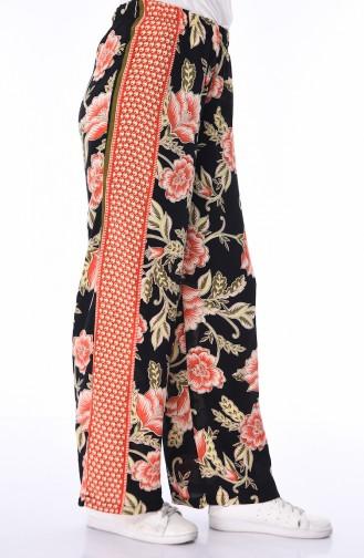 Pantalon Large a Motifs 25040-01 Noir Brique 25040-01