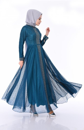 Oil Blue Islamic Clothing Evening Dress 1018-01