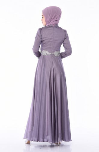 Purple Islamic Clothing Evening Dress 6163-02