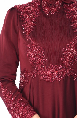 Claret red Islamic Clothing Evening Dress 6163-04