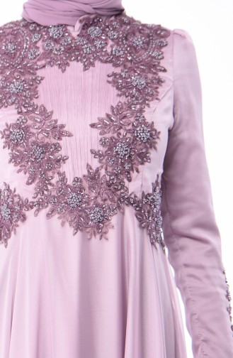 Lilac Islamic Clothing Evening Dress 6163-05