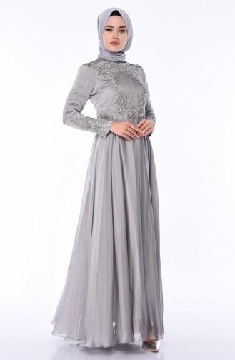 Gray Islamic Clothing Evening Dress 6163-06