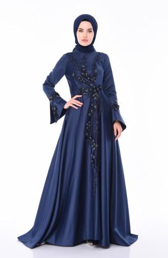 Navy Blue İslamitische Avondjurk 6164-01
