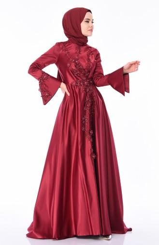 فساتين سهرة بتصميم اسلامي أحمر كلاريت 6164-02