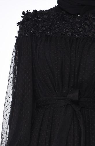 Çiçek Aplikeli Tül Abiye Elbise 5070-04 Siyah